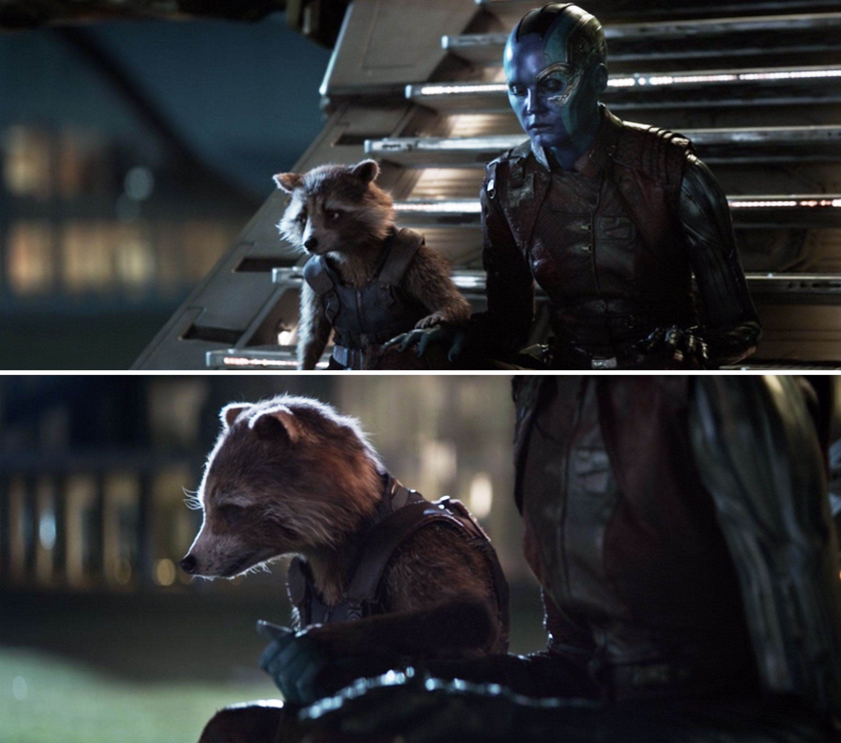 Rocket putting his hand on Nebula's and then Nebula holding his hand