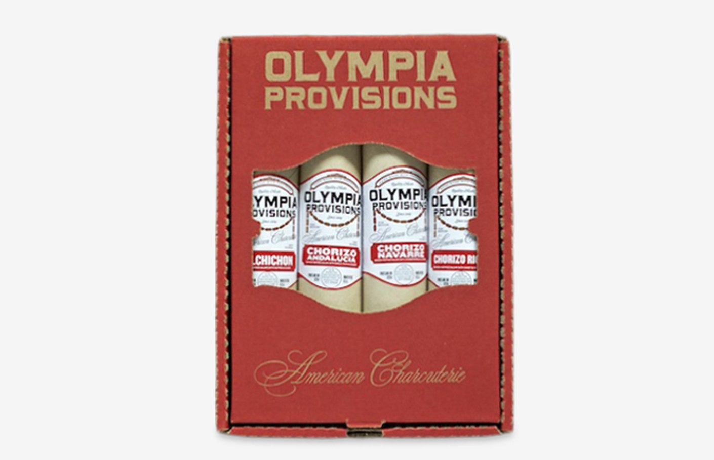 The box of chorizo salamis with the brand label on the front of each salami reading Olympia Provisions