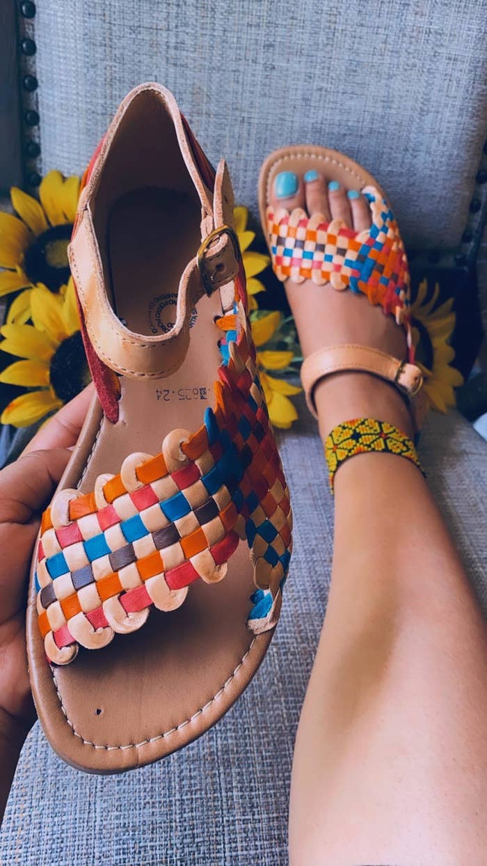 the sandals in rainbow