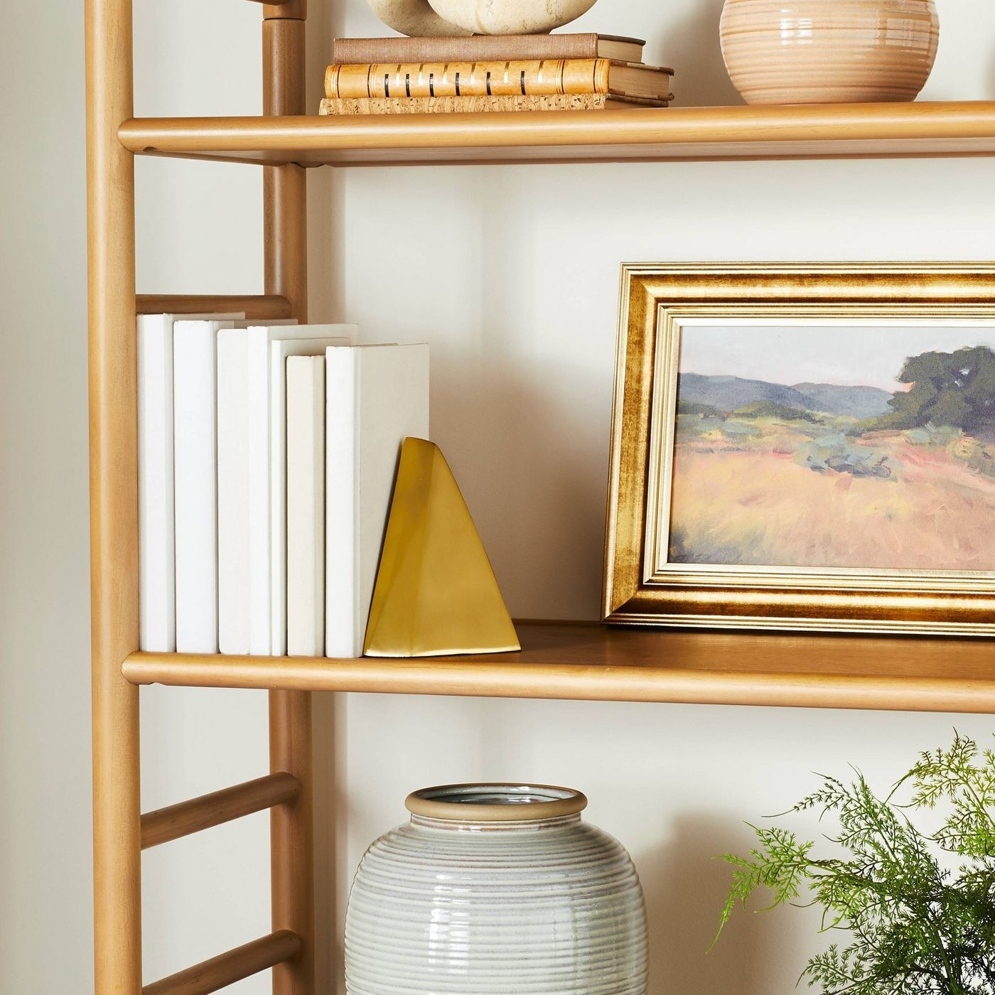 Gold bookend in a home