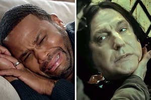"""On the left, Anthony Anderson crying on the couch as Dre in """"Black-ish,"""" and on the right, Snape from """"Harry Potter"""" getting ready to die"""
