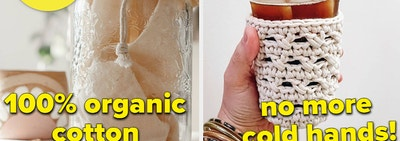 A split thumbnail of a jar and a coffee cozy