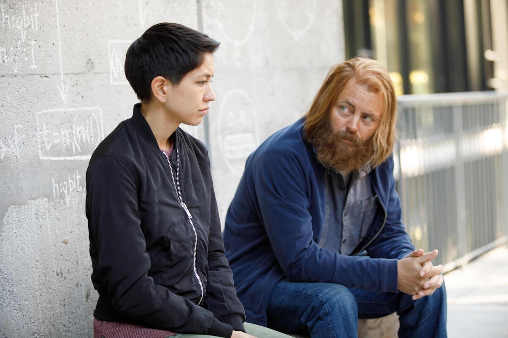 Sonoya Mizuno and Nick Offerman (Season 1, ep 102)