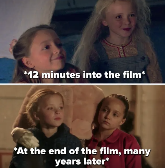 P.T.'s daughters a few minutes into the film then at the end, many years later, looking the same