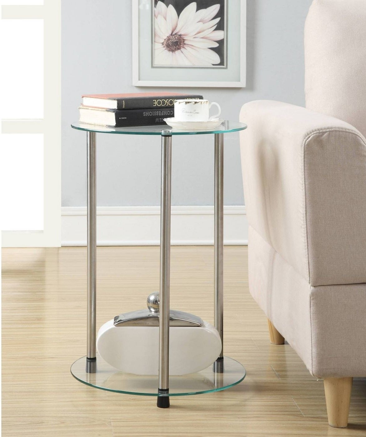 A glass side table in a home