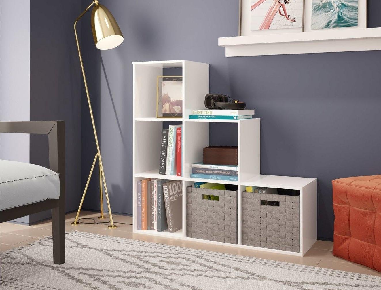 A cube bookshelf in a home