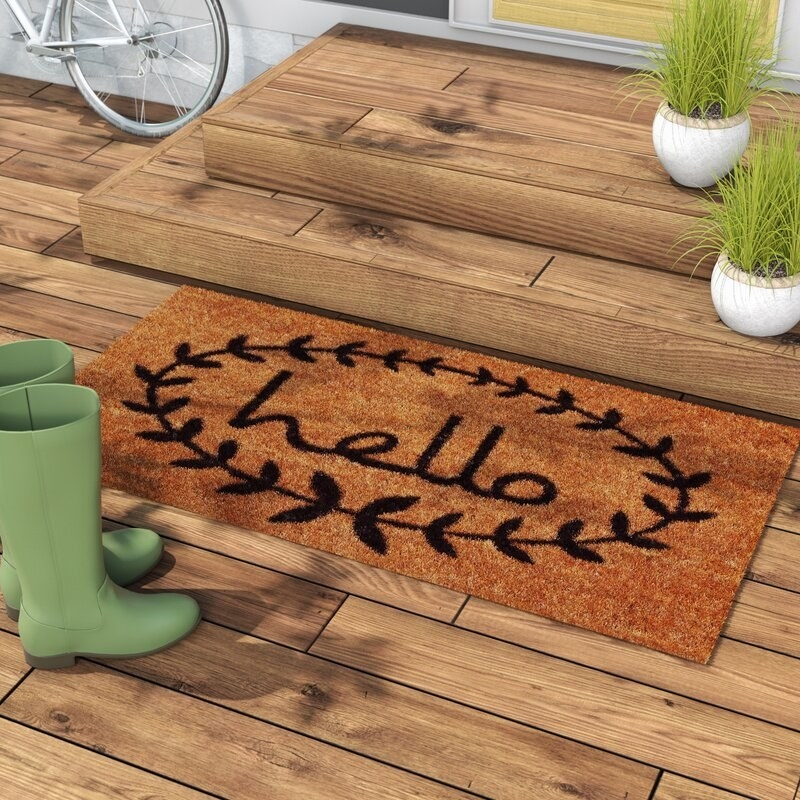 A water-resistant doormat made with durable fibres that keep shoes clean and dirt out of the house