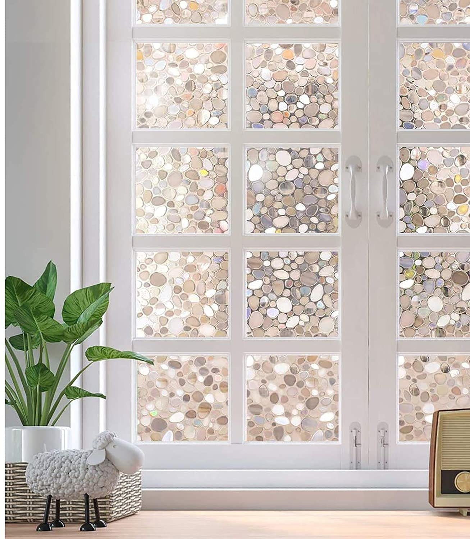 the adhesive window film on a set of windowed doors