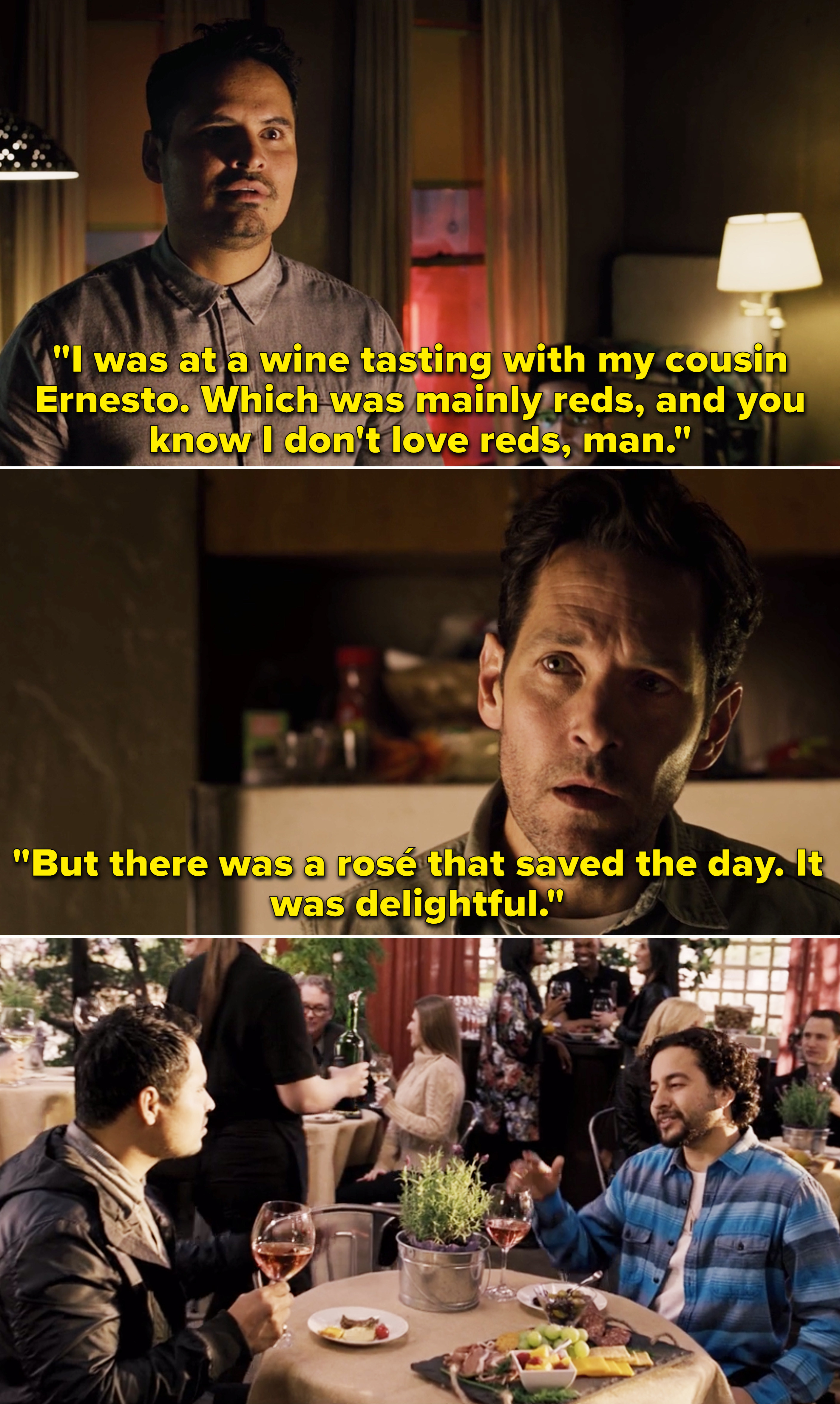 Luis telling Scott about a wine tasting he went to with his cousin Ernesto
