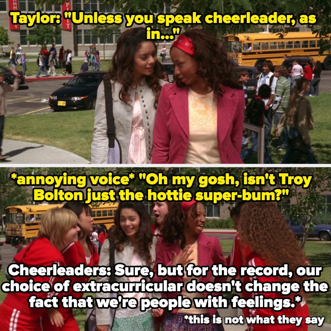 Taylor and Gabriella make fun of cheerleaders