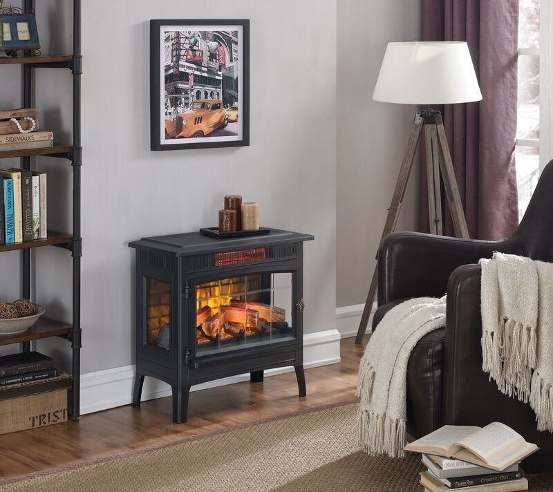 An electric stove that can be used to provide heating to small spaces