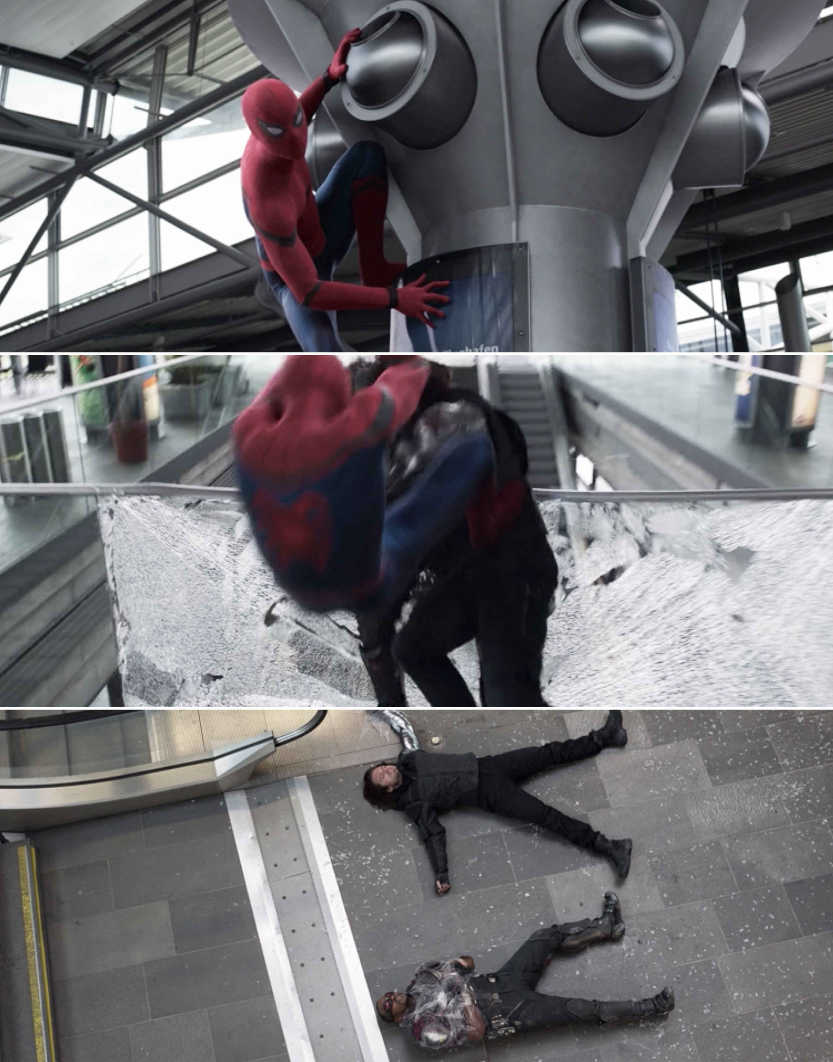 Bucky and Sam crashing to the ground after Spider-Man kicks them