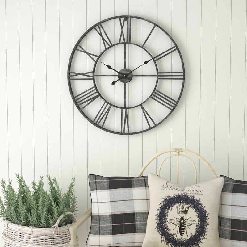 A mountable, oversized clock that helps tell time and decorates plain walls and living spaces