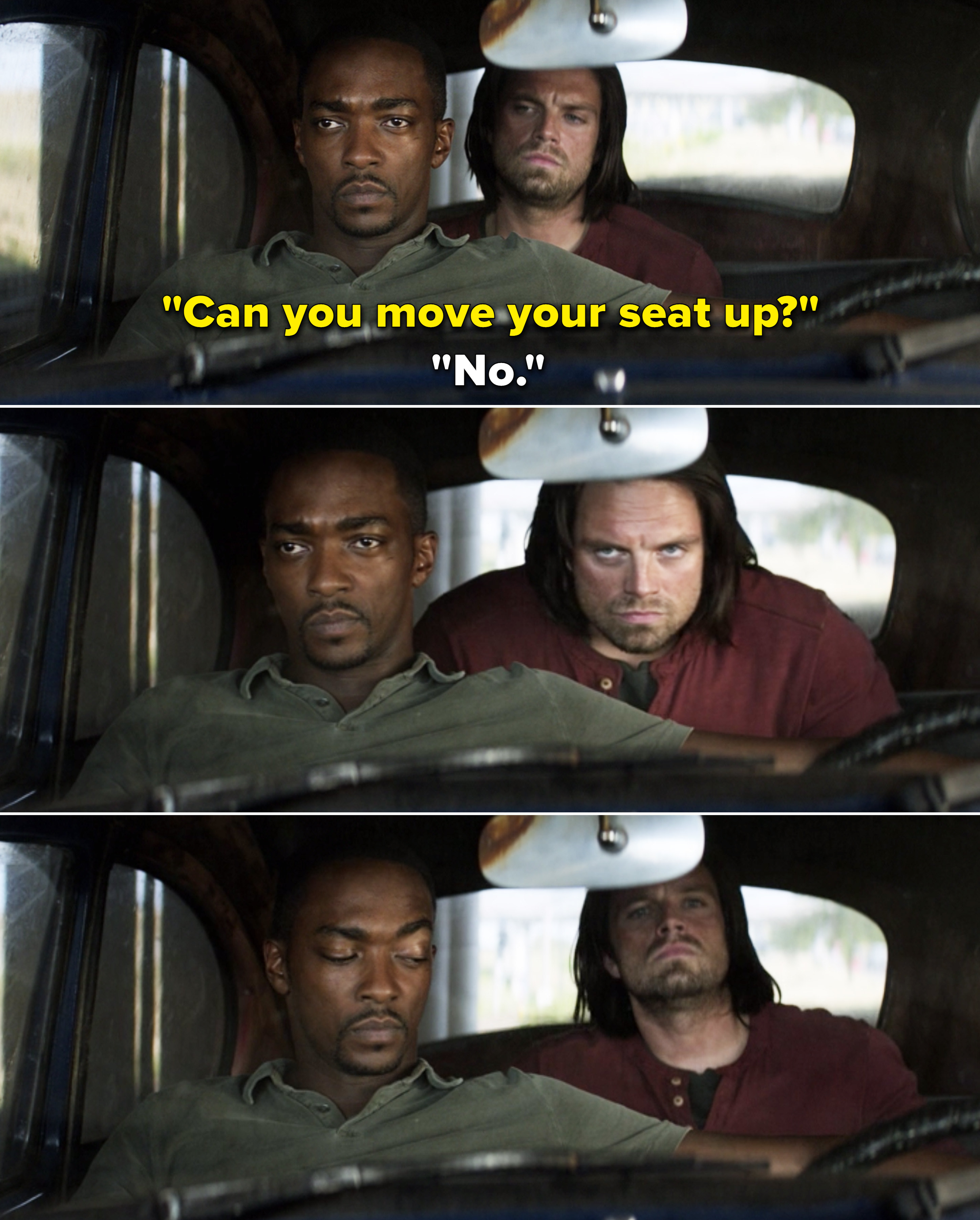 """Bucky asking Sam, """"""""Can you move your seat up?"""" and Sam saying """"No"""""""