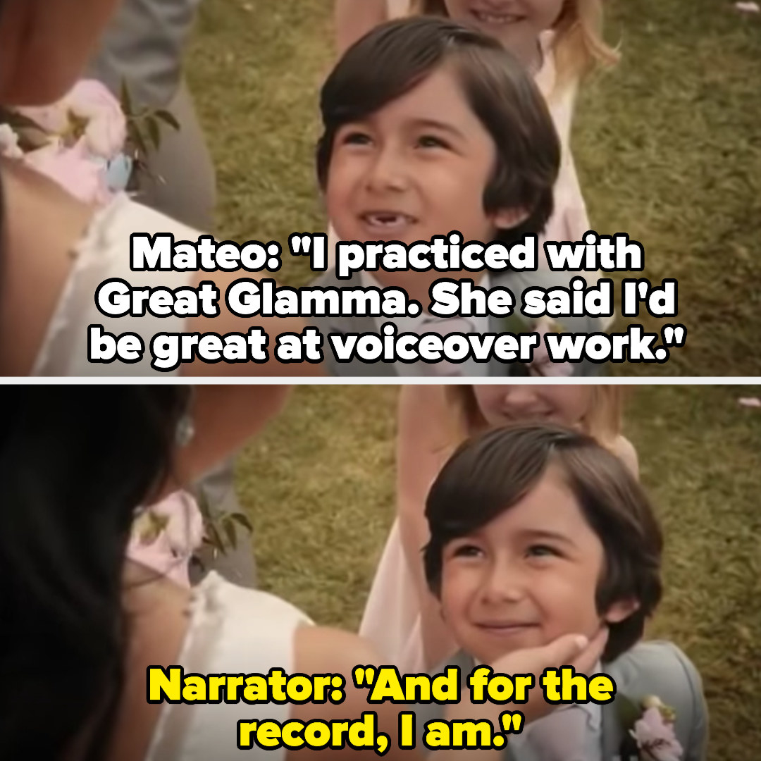 """Mateo says Great Glamma said he'd be good at voiceover work, and the narrator says, """"And for the record, I am"""""""