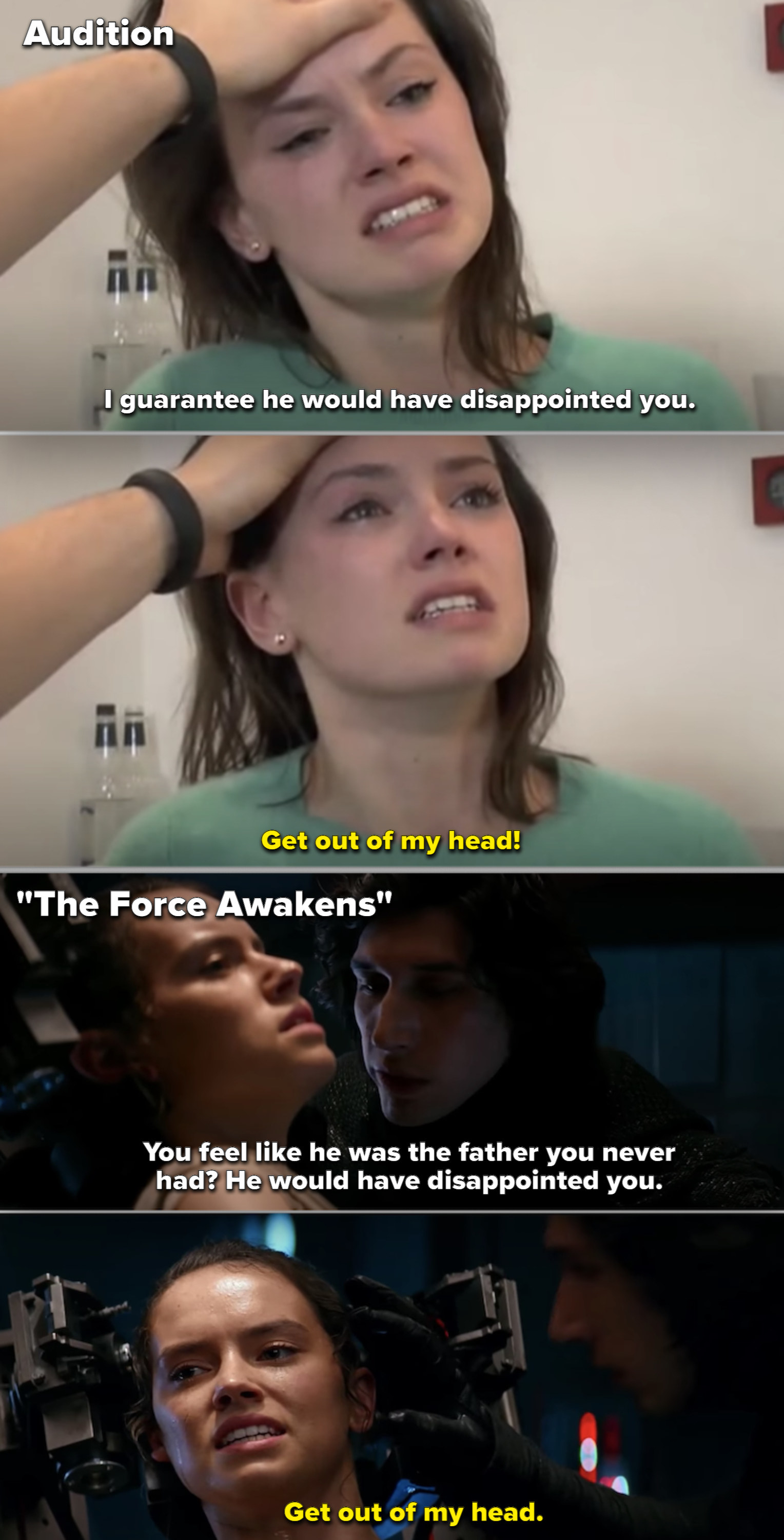 """A comparison of Daisy Ridley in her audition vs. the interrogation scene in """"The Force Awakens"""""""