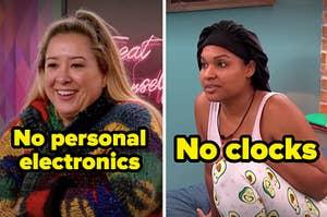 """丽莎和""""Trevor""""在""""圈子""""中的标题""""没有个人电子产品""""和""""没有时钟""""旁边的""""圈子""""。"""