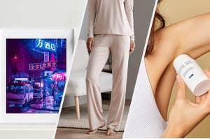 print, pants, and deodorant