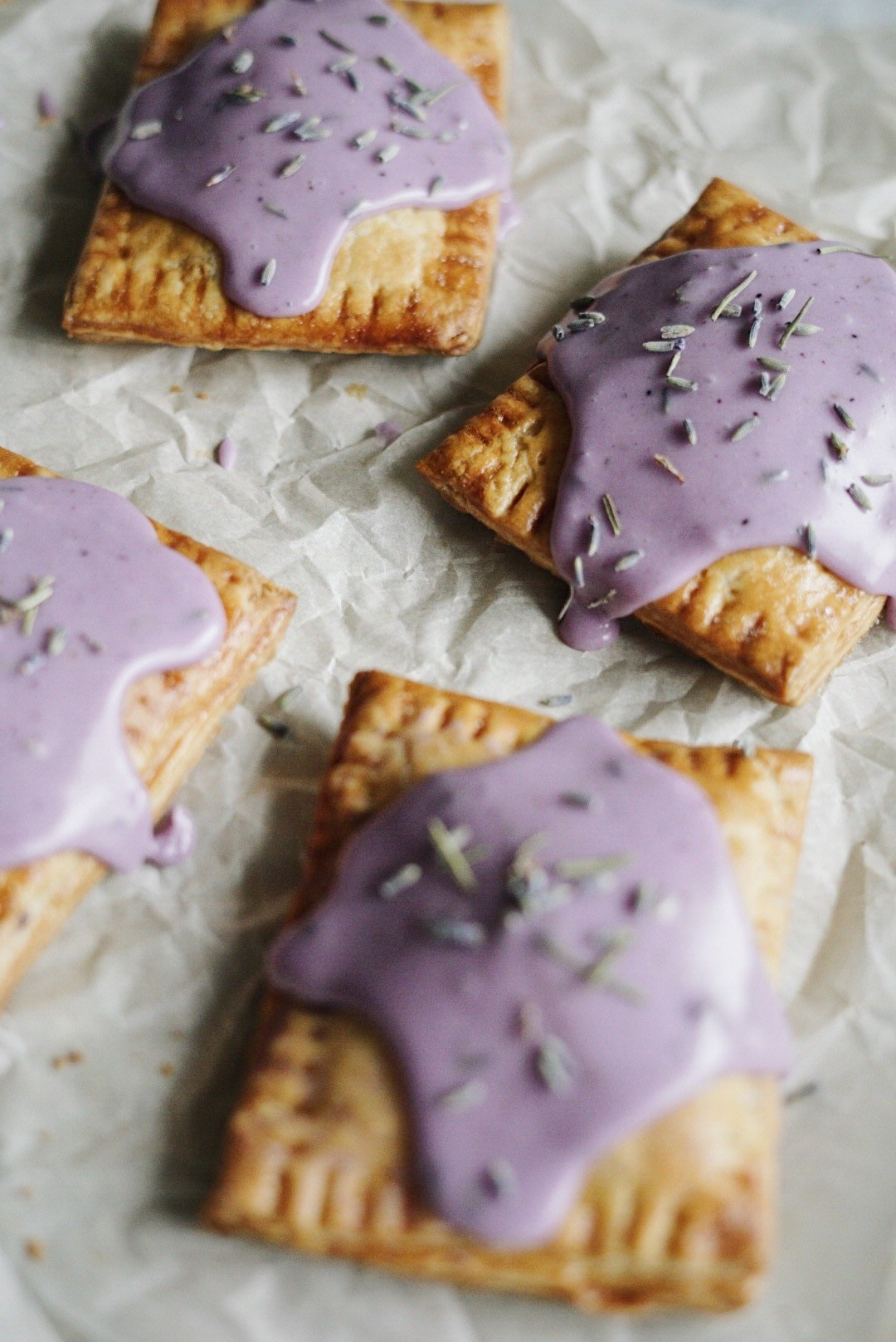 Pop Tarts with lavender blueberry icing.