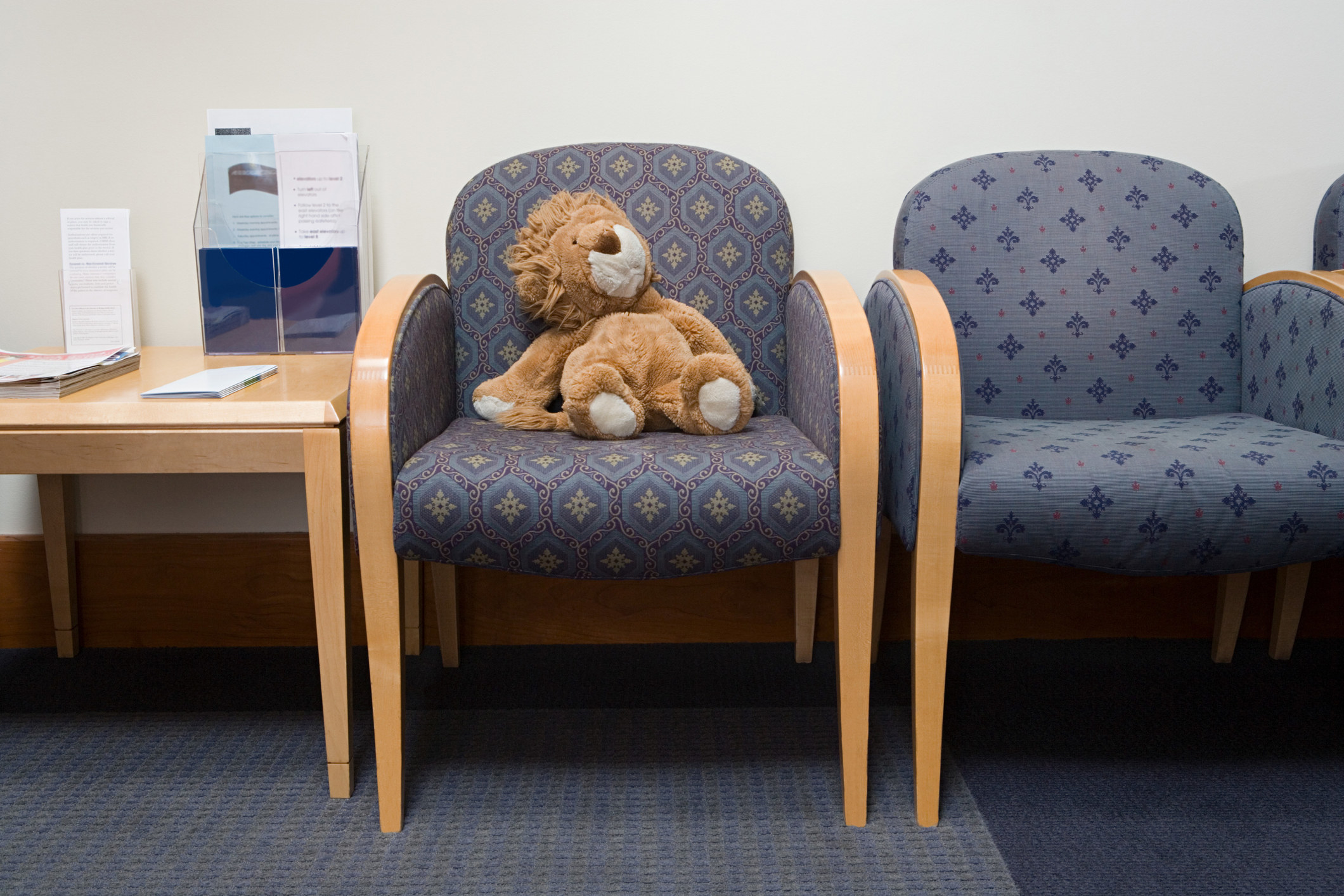 A stuffed animal lion sitting in a doctor's office waiting room.