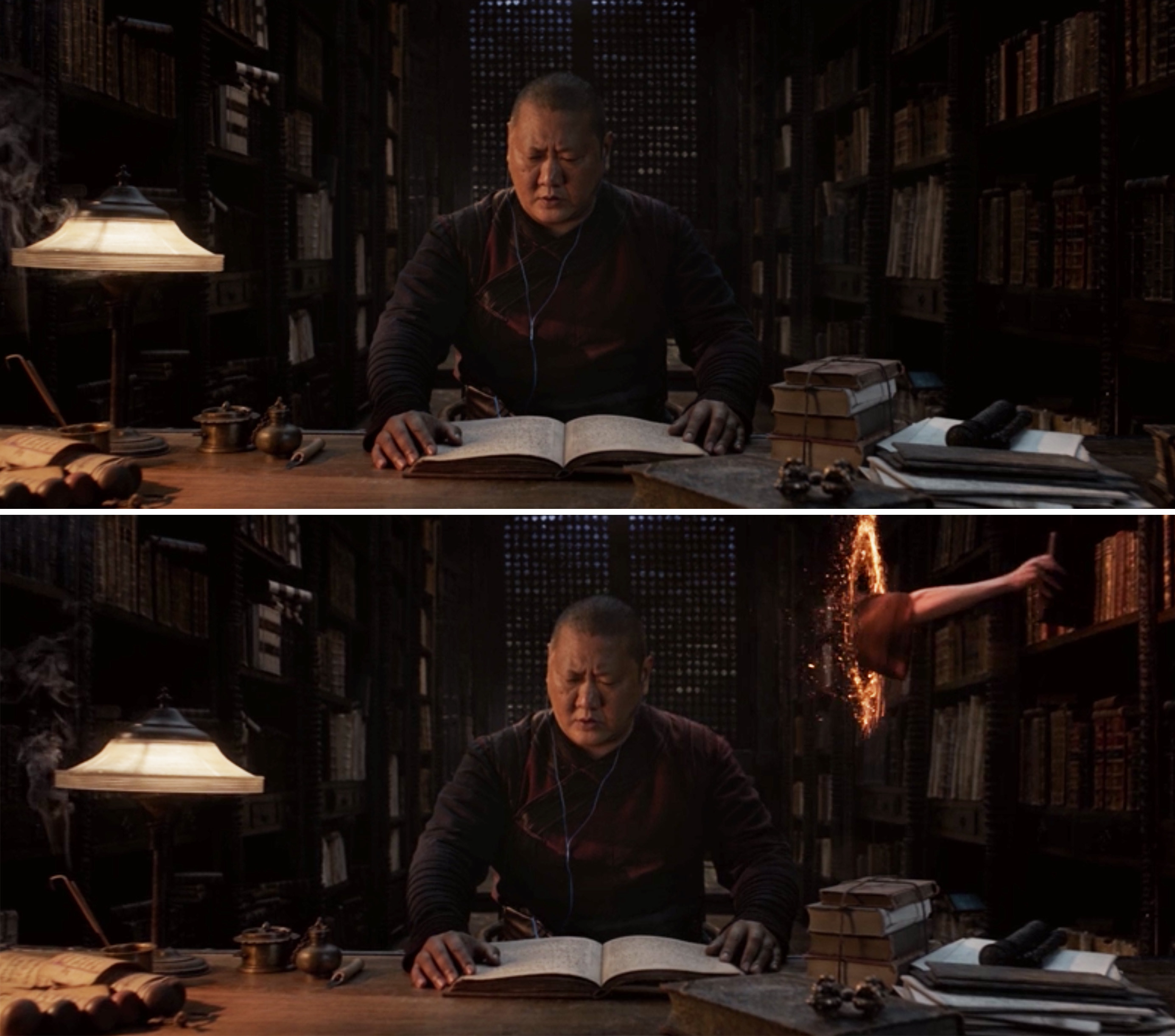 Wong reading and listening to music while Stephen takes a book