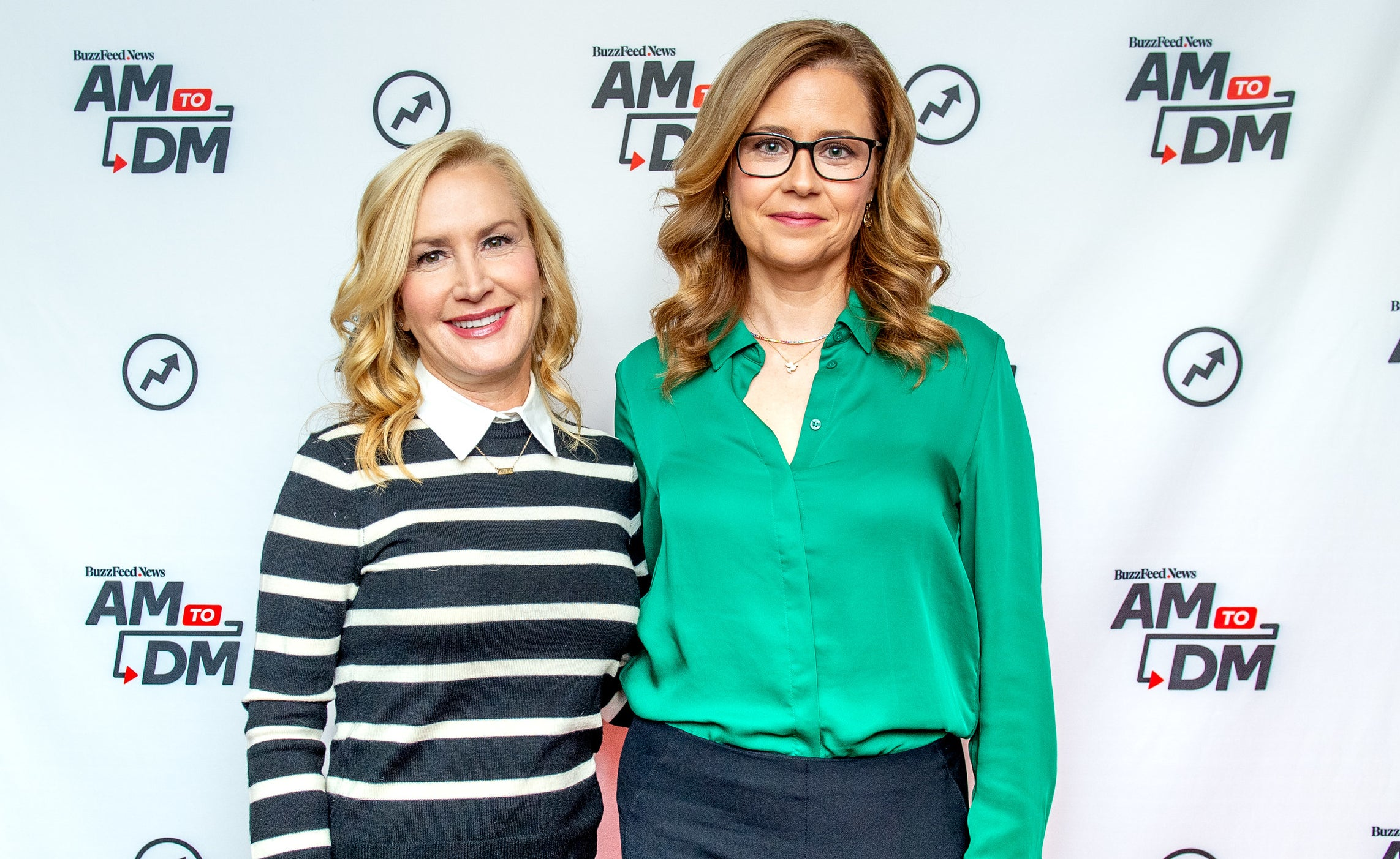 Jenna and Angela pose together while promoting their podcast