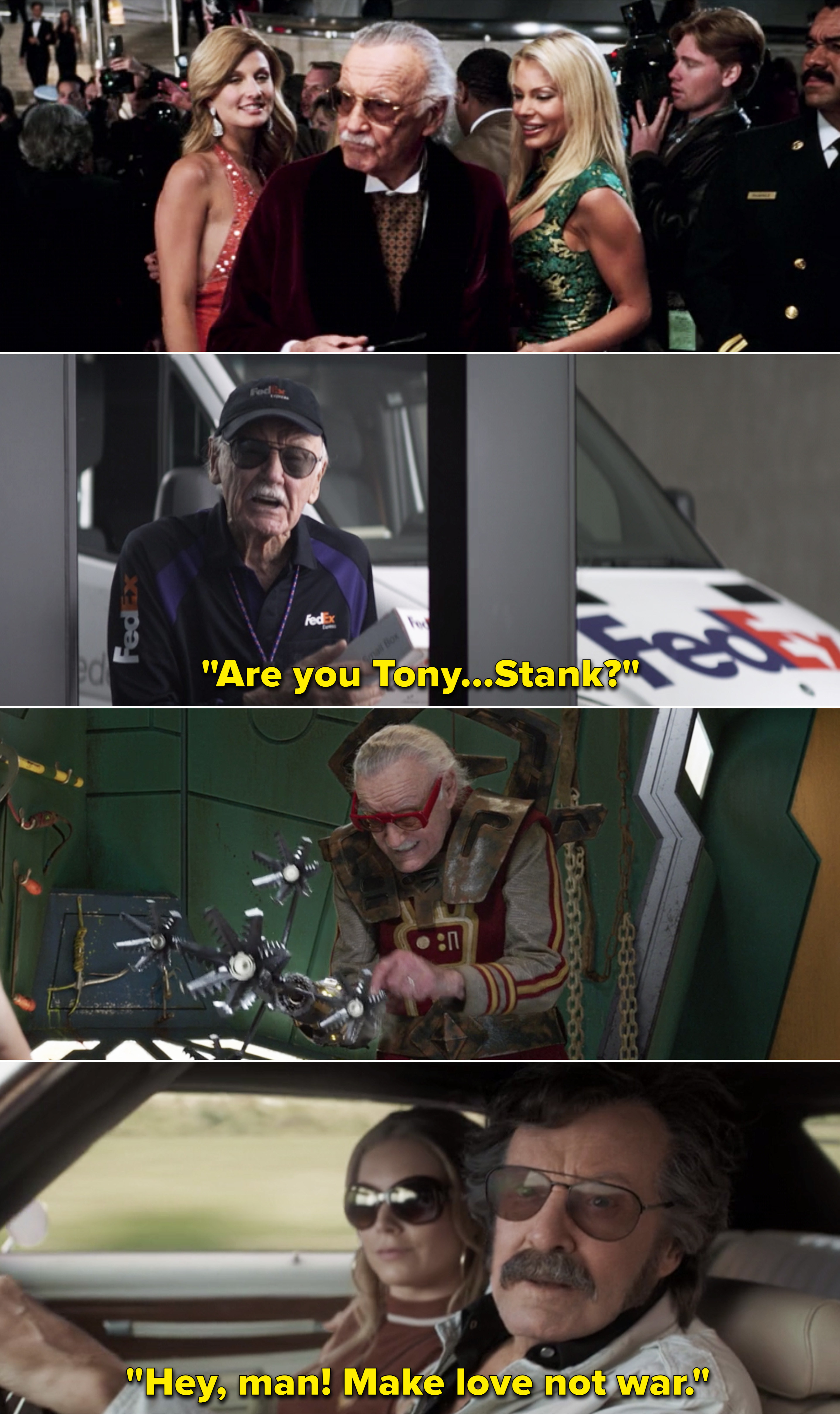 """Stan saying, """"""""Are you Tony...Stank?"""" and then saying, """"Hey, man! Make love not war"""""""