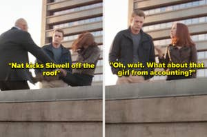 Natasha kicking Sitwell off the roof and then asking Steve about the girl from accounting