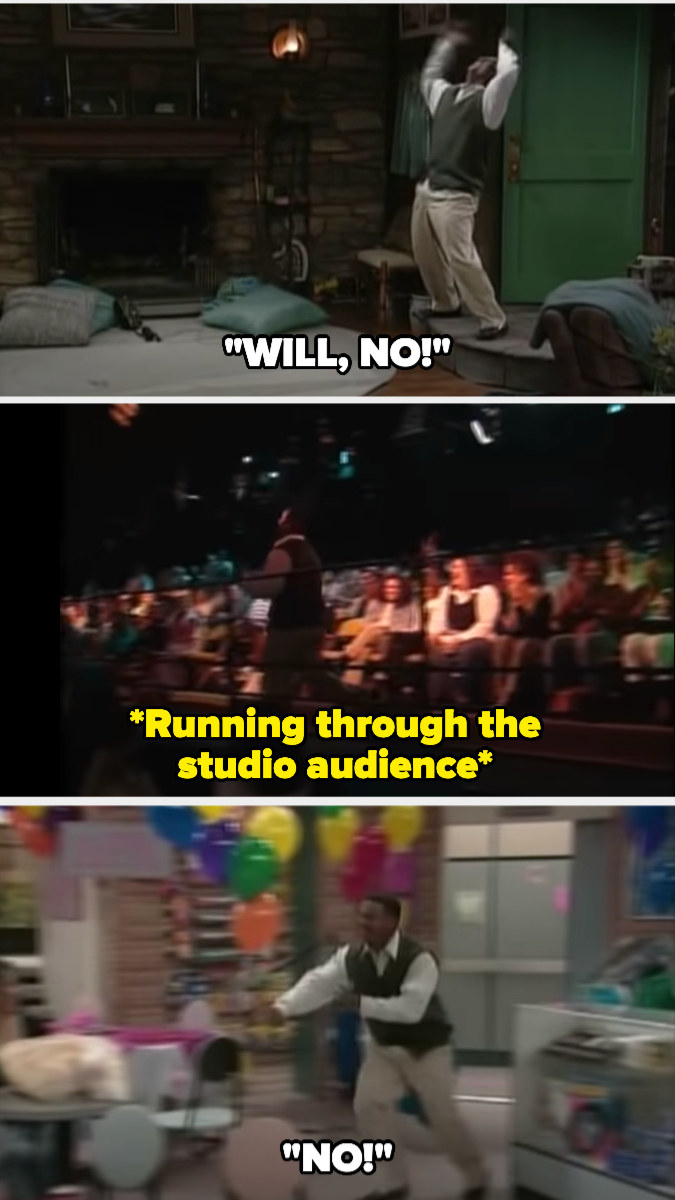 """Carlton running through different sets the show uses and the studio audience screaming """"NO!"""""""