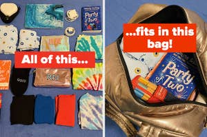 on the left a flat lay of items and on the right the items in a metallic weekender captioned