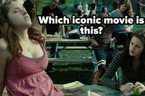 "Anna Kendrick as Jessica Stantley and Kristen Stewart as Bella Swan in the movie ""Twilight."""
