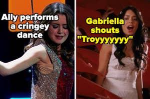 """来自奥斯汀&ally的盟友和高中音乐喊叫""""特洛伊""""的ringey舞蹈和加布里埃拉"""
