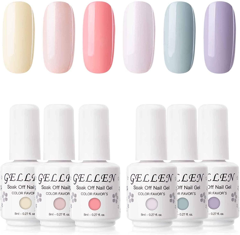 six nail polish bottles of varying pastel tones