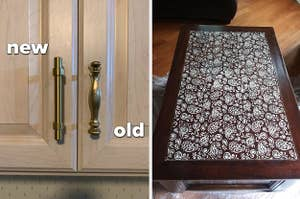 Exchanged cabinet pulls on the left and a stenciled table on the right