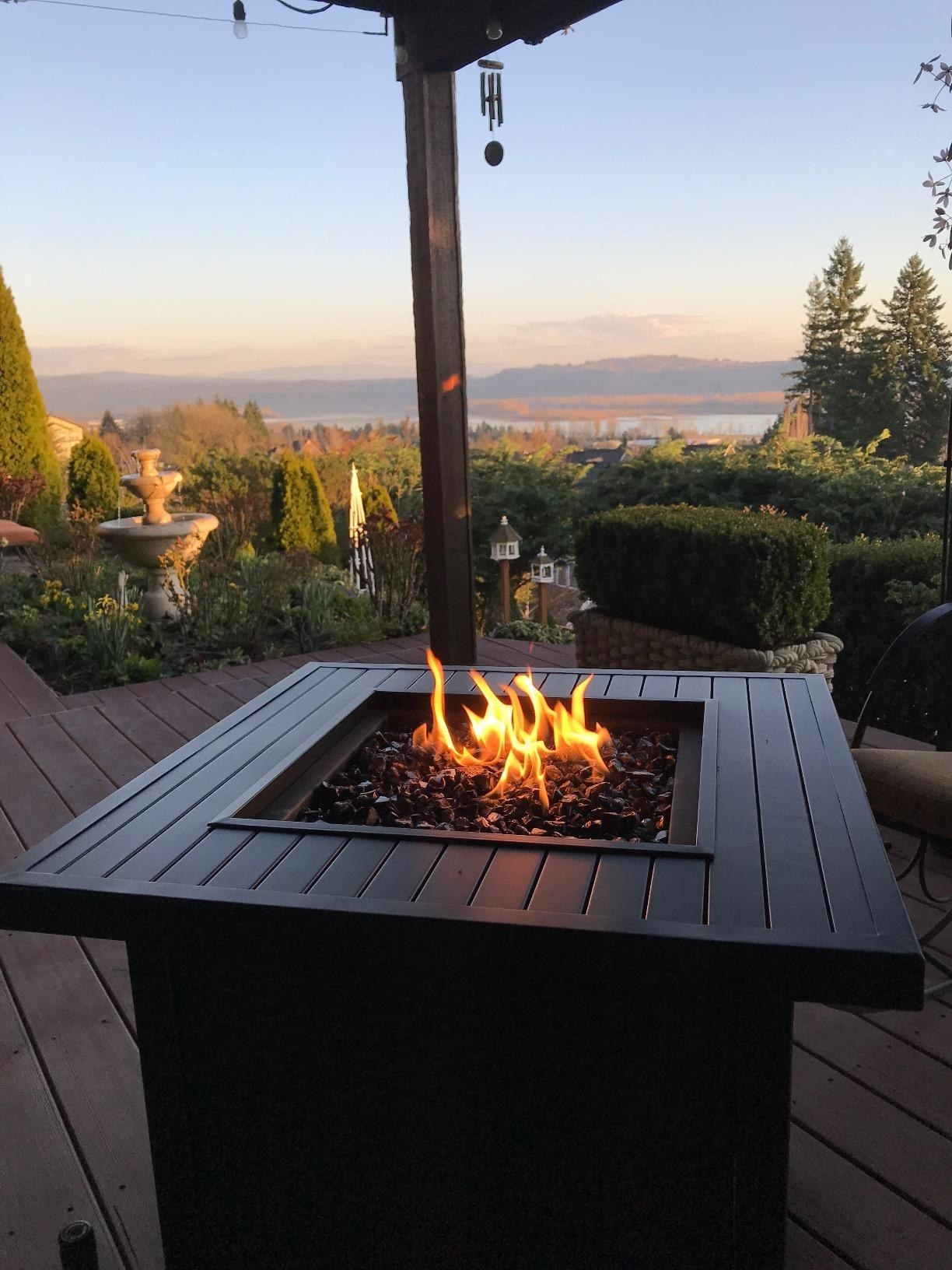 reviewer's fire pit on a porch