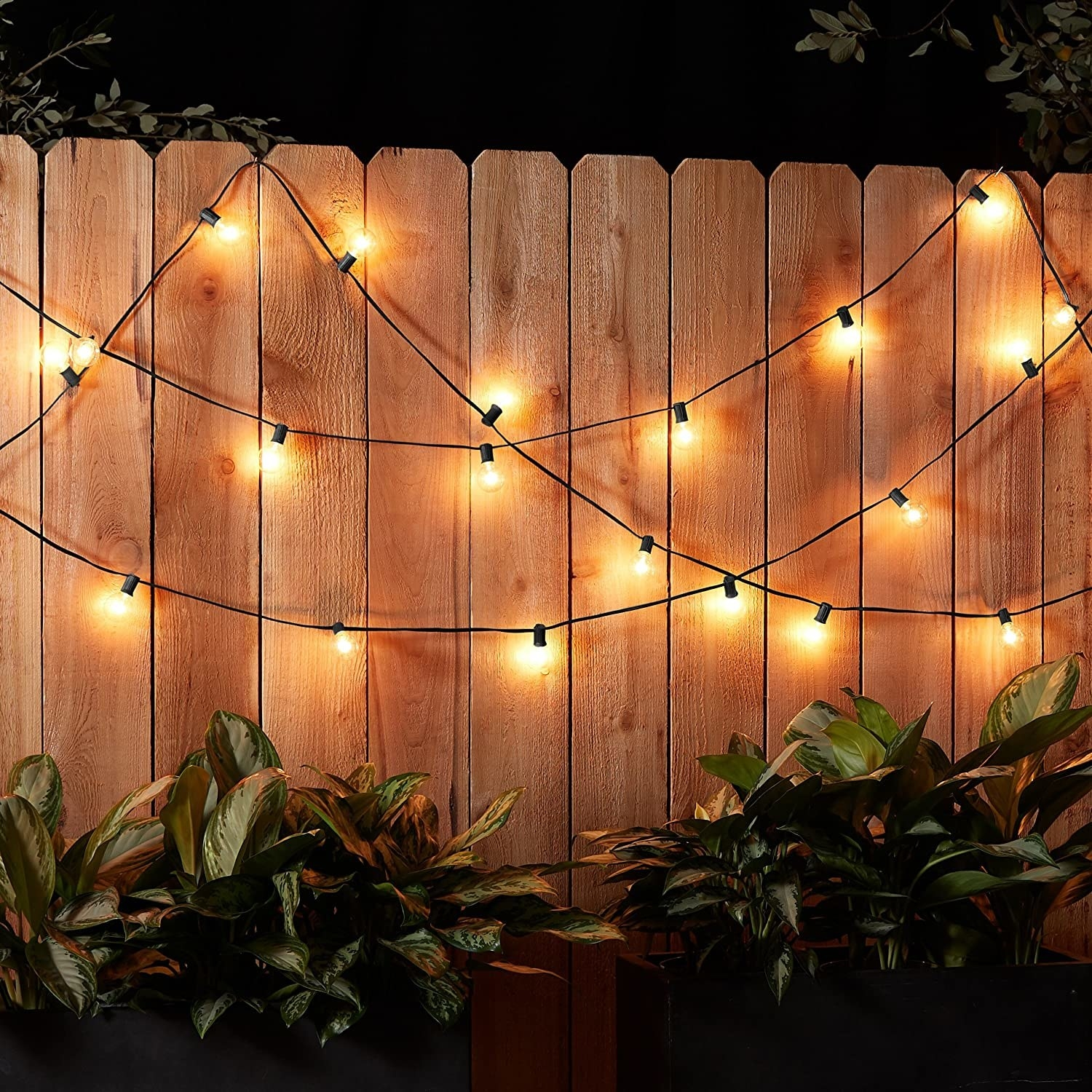 warm, glowing lights on a string in an outdoor space