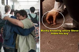 Peter and Ned hugging and Bucky knowing where Steve hides his key