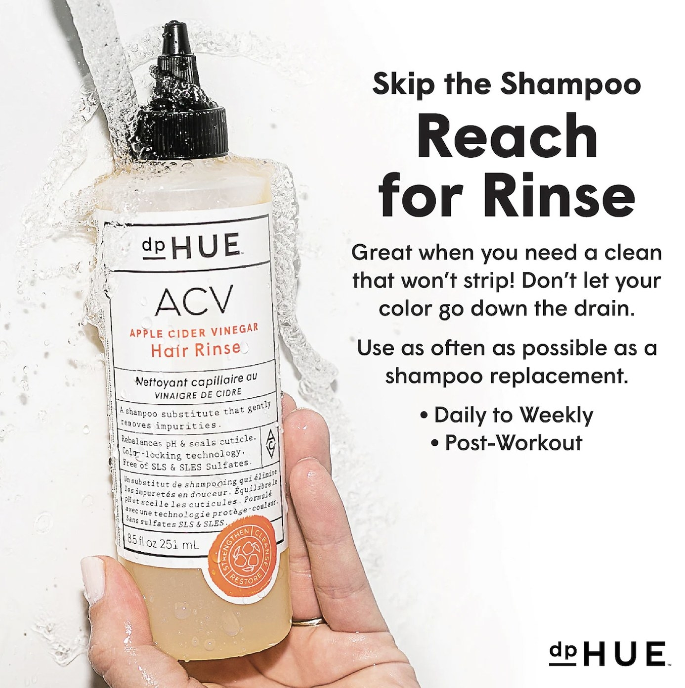 """A bottle of the hair rinse with text next to it that reads """"skip the shampoo, reach for rinse"""""""