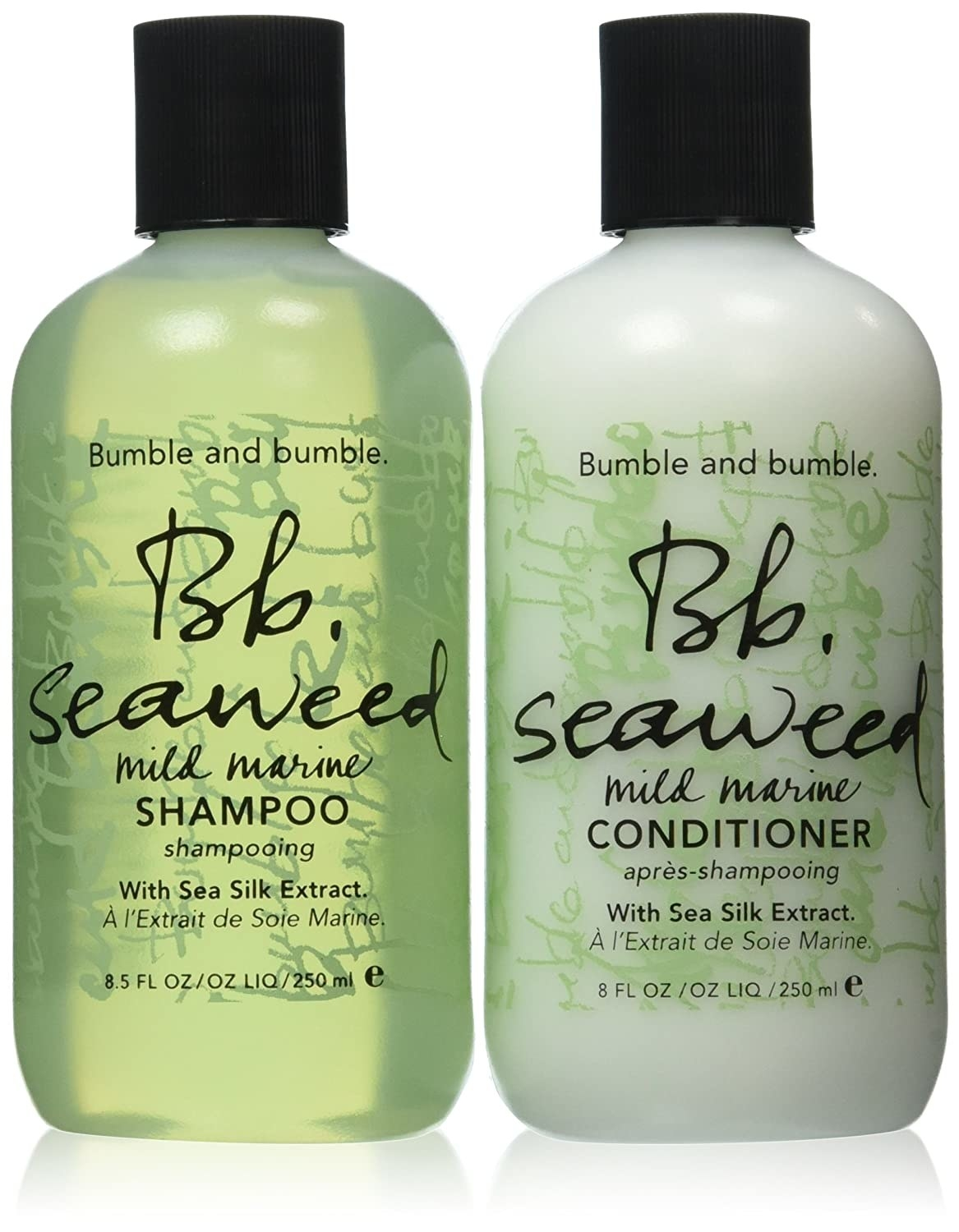 a green shampoo and conditioner set