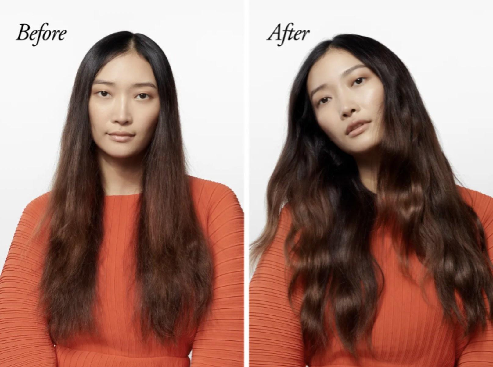 a before and after photo of a model using the texturizing spray