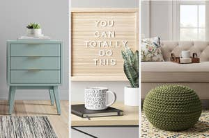 A mint green end table on the left and a wood message board in the middle and a green knit pouf on the right