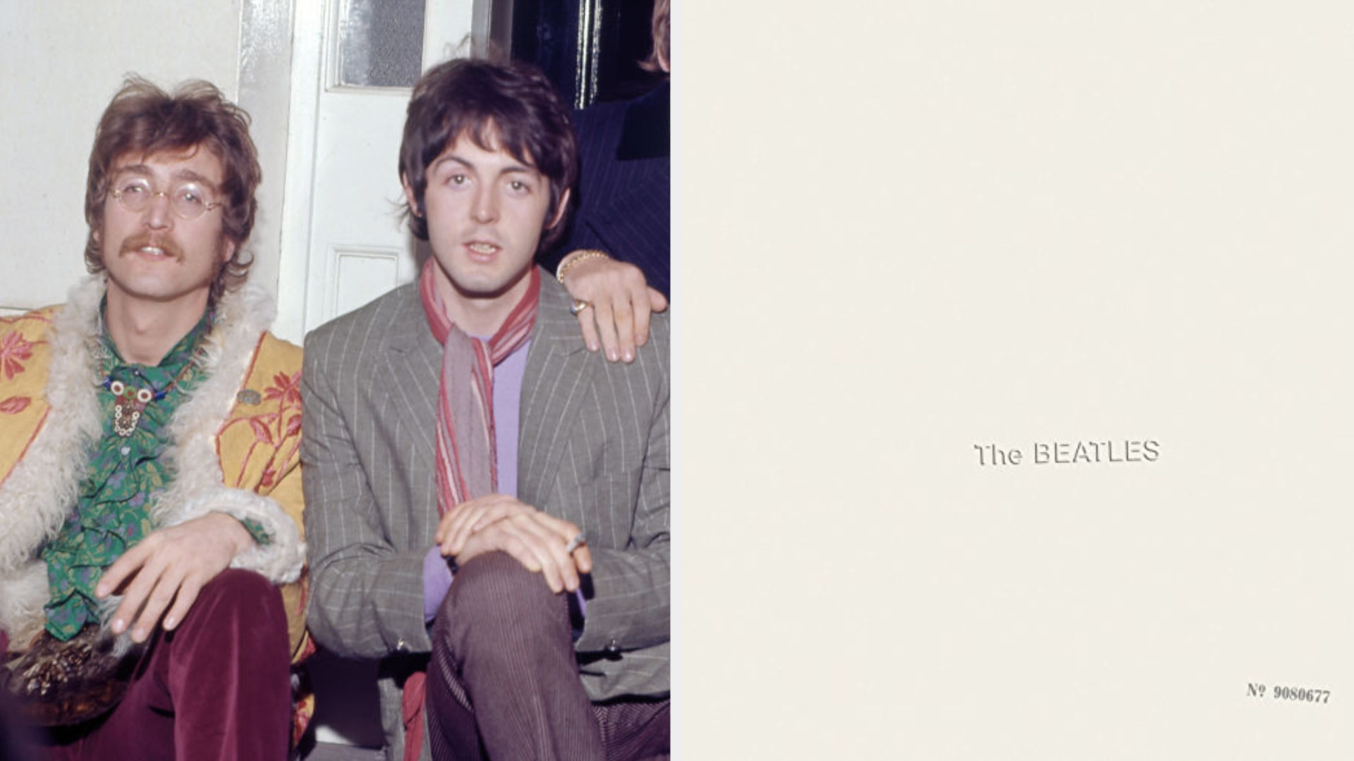 """John Lennon and Paul McCartney posing together in the late '60s; The Beatles' album cover for """"The White Album"""""""