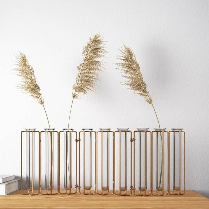Rectangular vase with gold metal frame