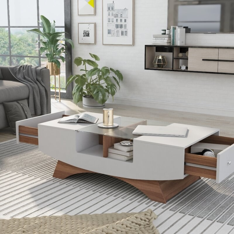 Gray table with brown accents, two drawers and glass accent