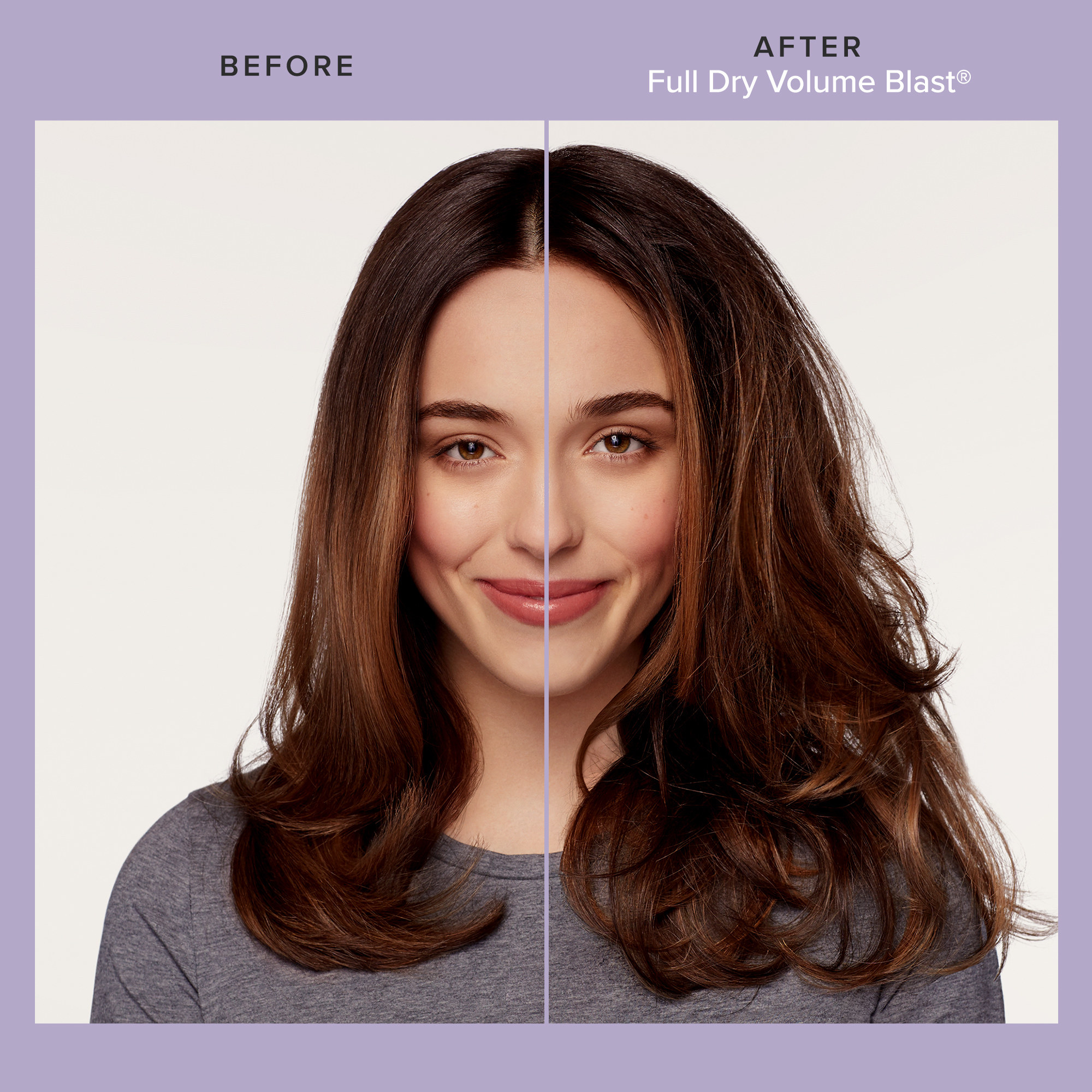 Split image of model before and after using the full dry volume blast with much fuller, thicker-looking hair