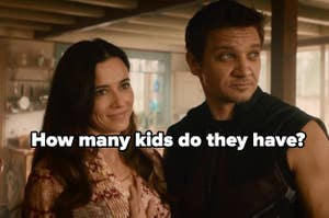 Linda Cardellini as Laura Barton and Jeremy Renner as Clint Barton in the movie