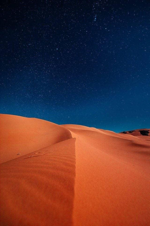 Night time in the Algerian Sahara Desert