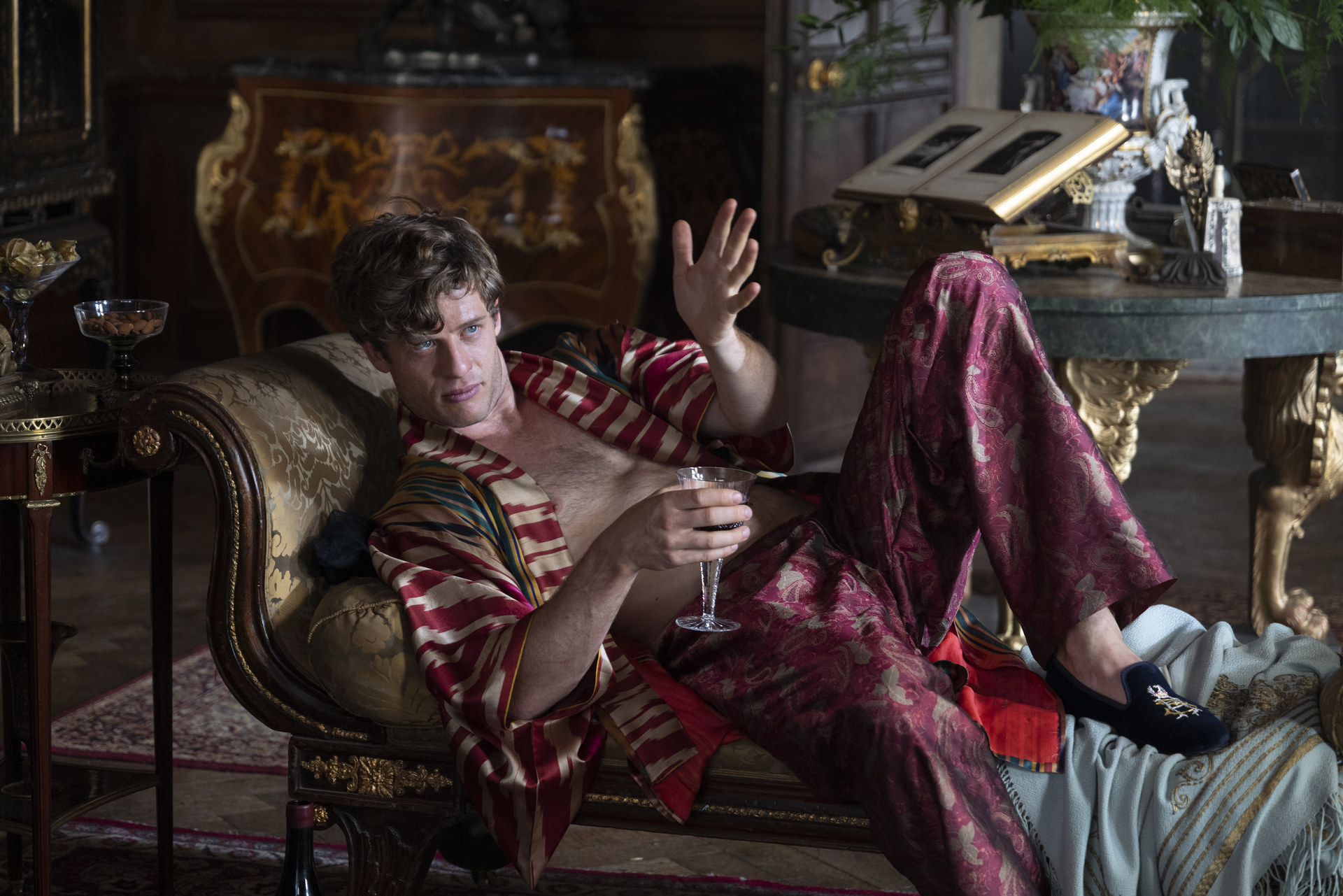 James Norton in ornate pajamas in The Nevers