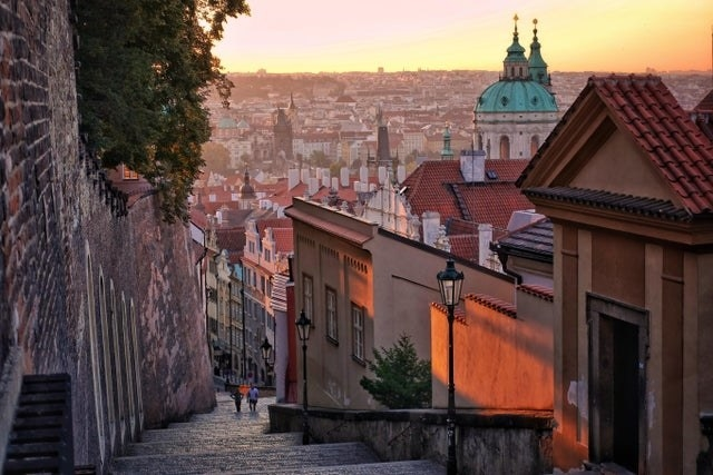 An empty view of Prague with its colorful rooftops