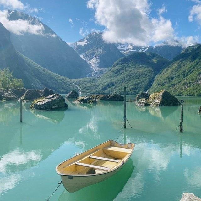 A glacial lake in Mauranger, Norway